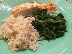 Baked Salmon with Dill Sauce, Buttered Spinach, Brown Basmati Rice