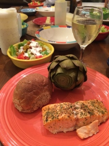 Salmon Baked with Olive Oil and French Herbs, Steamed Artichokes, Green Salad, and Whole Wheat Rolls