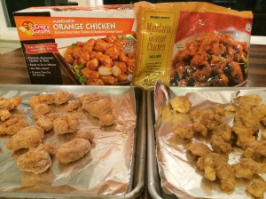 Left, Crazy Cuisine from Costco; Right, Trader Joe's Orange Chicken... obviously...