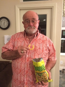 I still can't believe that he hasn't tried Funyuns before...