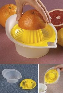 Small, easy to clean and inexpensive and store citrus juicer.