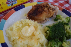 Our favorite baked chicken, with mashed potatoes and broccoli.