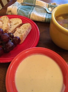 Chicken Vegetable Soup with Bread and Beer Cheese Dip