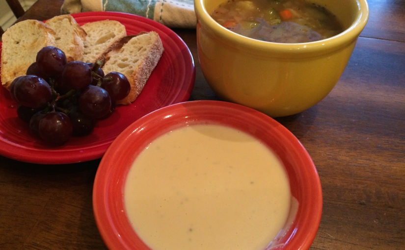 New Menu Monday- Chicken Vegetable Soup, Beer Cheese Dip and Bread
