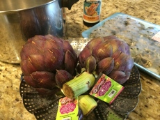 Purple Artichokes, ready to prep.