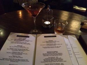 Croce's bar menu...