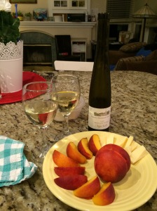Peaches, Mahón cheese, and Moscato D'Oro