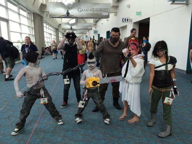 The family that cosplays together...  from the latest Mad Max universe