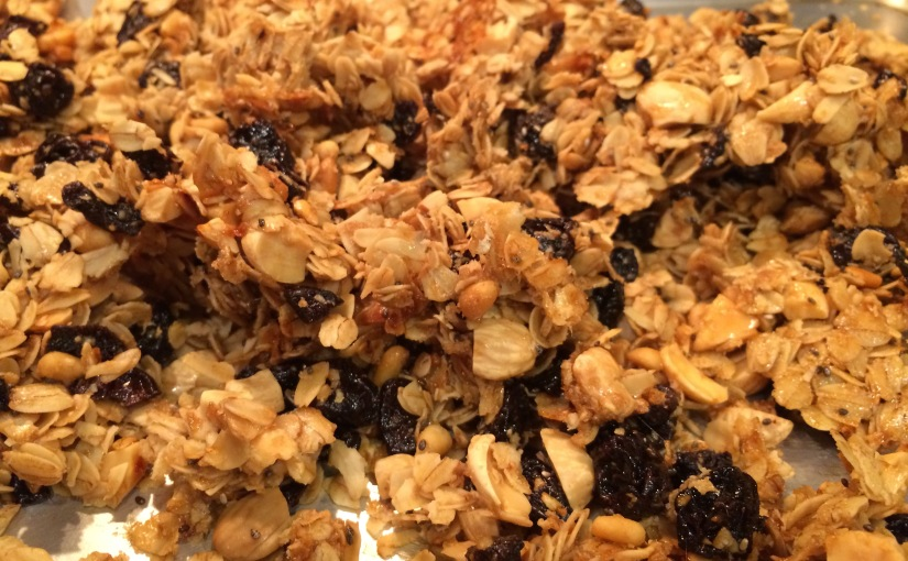 Home Made Cherry Almond Granola with Chia and Pine Nuts- So Good!