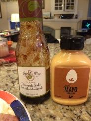 Just mayo brand Sriracha Mayo and Earth and Vine Pineapple Sake Teriyaki Sauce