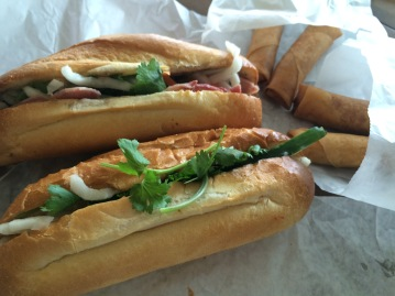 Shrimp Sandwich and Ham Sandwich with egg rolls