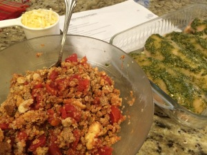 Mix tomatoes, water, stuffing... check.