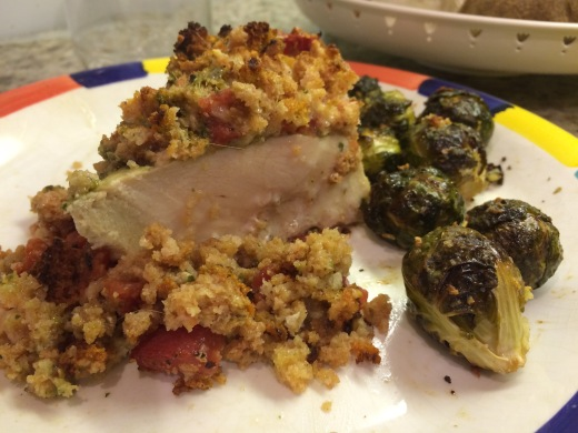 Enjoy the flavors of tender, pesto chicken (not under baked), and cheesy stuffing even though it is in the wrong spot.