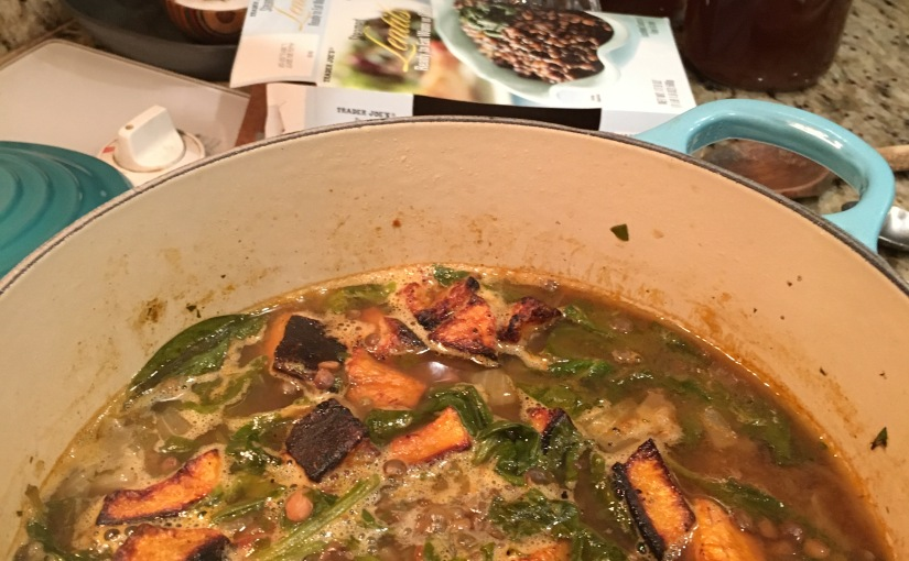 """""""I Need to Eat Better"""" Soup- Lentil, Spinach, and Roasted Butternut Squash Soup featuring Something from Nothing VegetableBroth"""